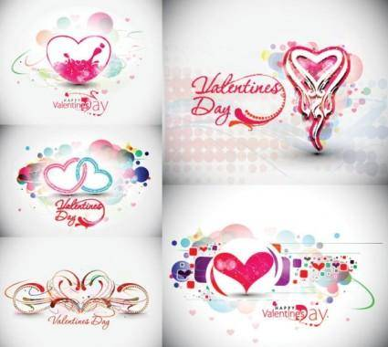 free vector Beautiful heart-shaped trend pattern - vector