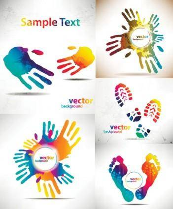 Beautiful hands and feet silhouette pattern vector