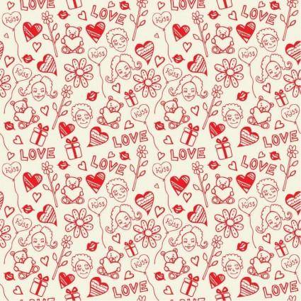 free vector Romantic Love Seamless Pattern Vector