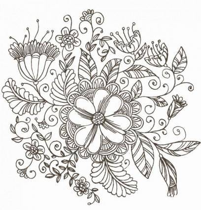free vector Line Drawing Swirl Flower Pattern Vector Graphic