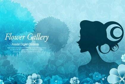 free vector The background and the girls character exquisite pattern vector picture