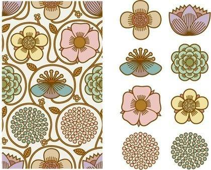 Beautiful background pattern vector material Series 2