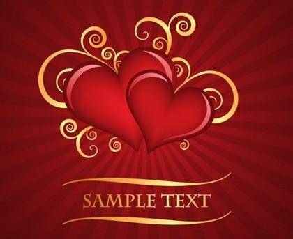 free vector Red heart-shaped pattern with the radiation background of vector material