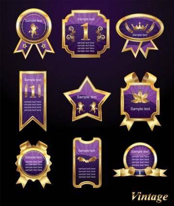 Exquisite europeanstyle badge labels 02 vector