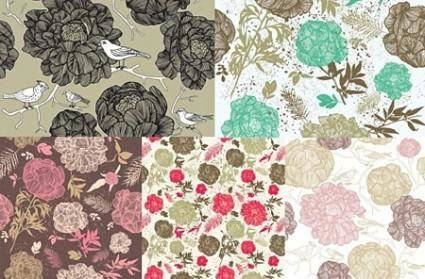 free vector Line Drawn Flower Vector Patterns