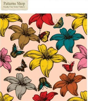 free vector Free flowers and butterflies vector seamless pattern