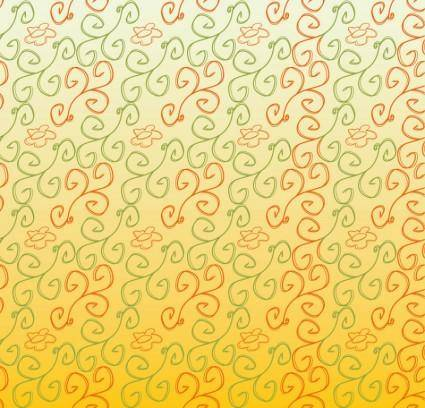 free vector Hand Drawn Flower Scrolls Pattern