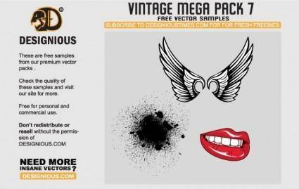 free vector Wings, lips and pattern vector samples