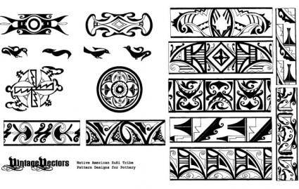 free vector Native American Pottery Patterns