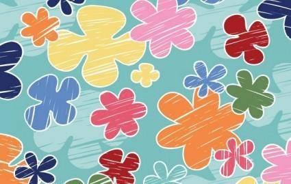 free vector Children?s crayon flower vector pattern- Free