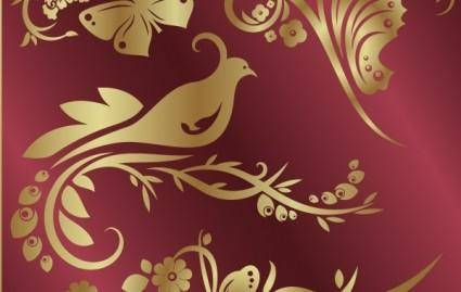free vector Number of golden flowers and birds butterfly pattern