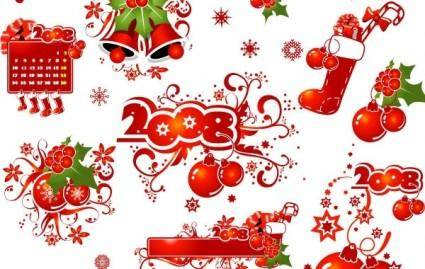 free vector 2008 CHRISTMAS DECORATION ELEMENTS AND PATTERNS VECTOR MATERIAL