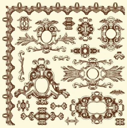free vector European retro lace 07 vector