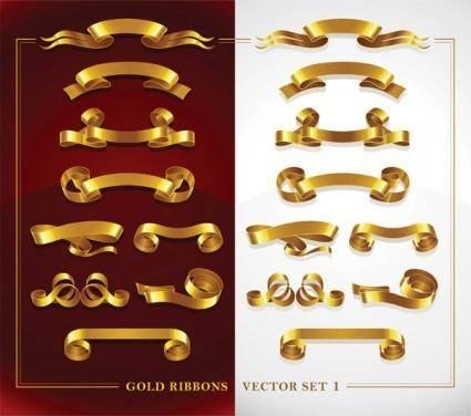 free vector Beautiful gold ribbon vector 2