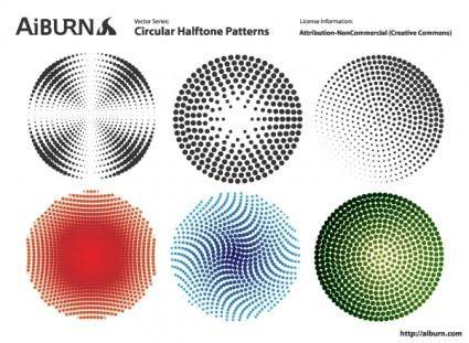 free vector Circular Halftone Patterns