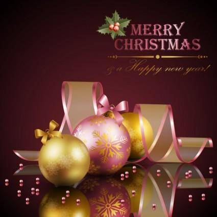 free vector Beautiful christmas decoration elements 01 vector