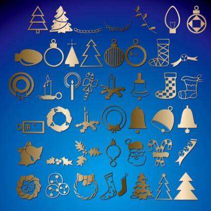 free vector Christmas monochrome illustrations 03 vector