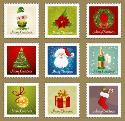free vector Beautiful christmas ornaments stamp vector