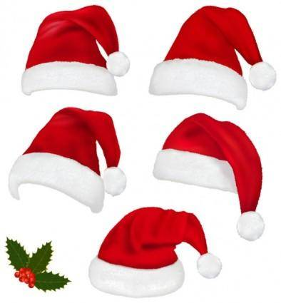 free vector Christmas hats 02 vector