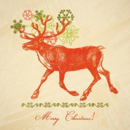 free vector Christmas elk illustration 04 vector