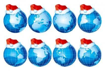 free vector Threedimensional earth and christmas hats vector