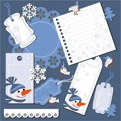 free vector Christmas notes stickers 04 vector