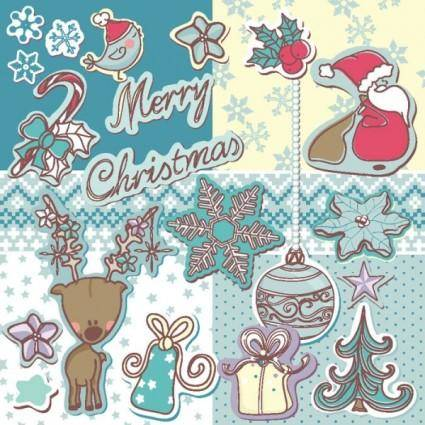 Christmas decoration stickers 01 vector