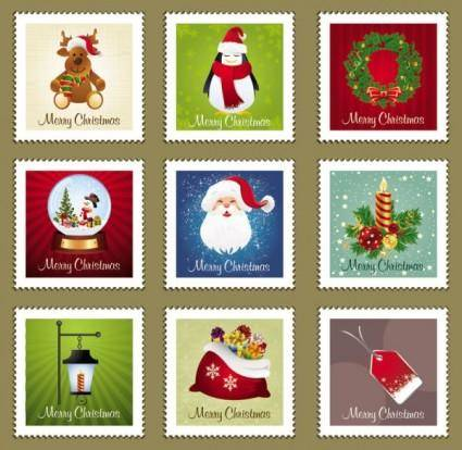 Christmas stamp element 01 vector