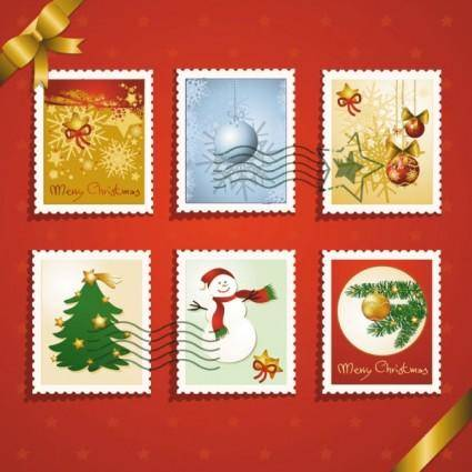 Christmas elements stamp 03 vector