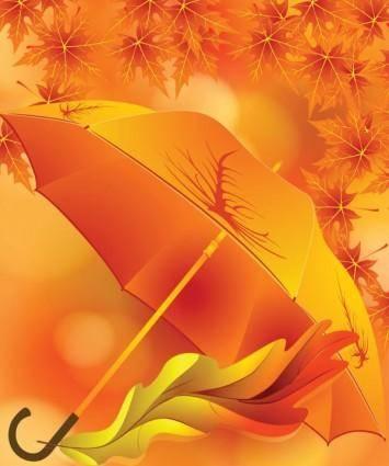 free vector Beautiful maple leaf umbrella 01 vector
