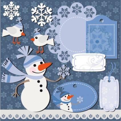 free vector Christmas sticker notes 01 vector