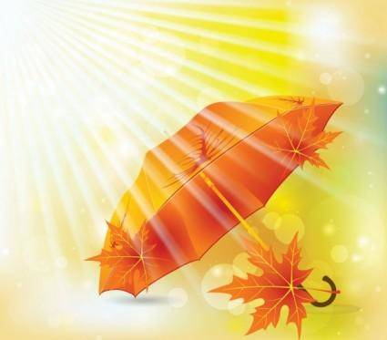 Beautiful maple leaf umbrella 02 vector