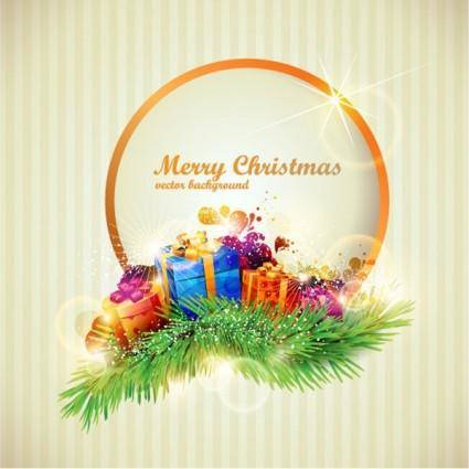 Beautiful christmas gift box 05 vector