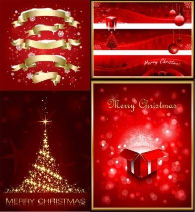 Exquisite christmas red elements poster vector