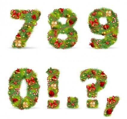 Christmas ornaments consisting of digital 02 vector