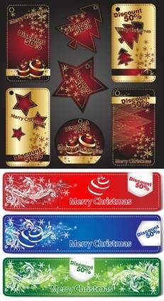 free vector Beautiful christmas labels vector