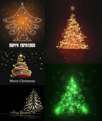 free vector Bright stars christmas tree vector