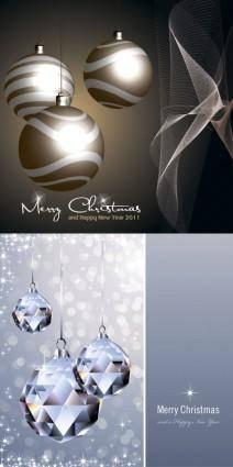 free vector Crystal christmas ball and lob vector