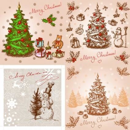 Classic handpainted christmas illustration vector
