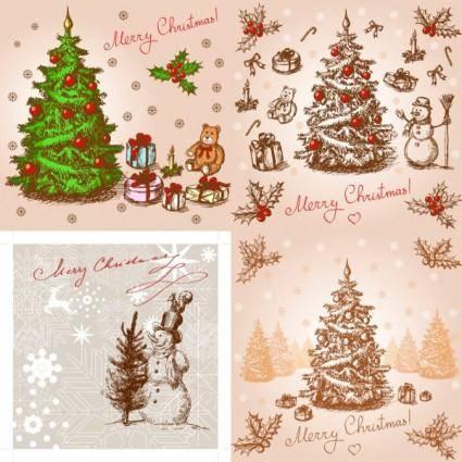 Classic handpainted christmas illustration vector