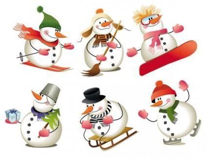 free vector Lovely christmas snowman vector