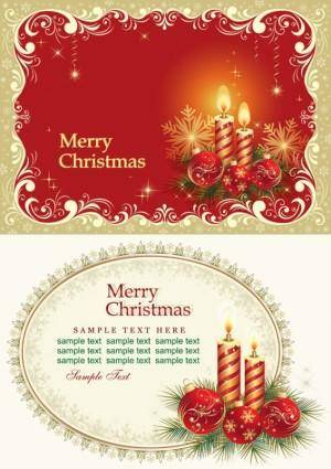Beautiful christmas cards vector 25014