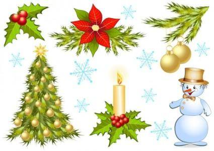 free vector Christmas decorations 1 vector