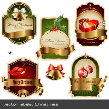 free vector Christmas vector labels vector