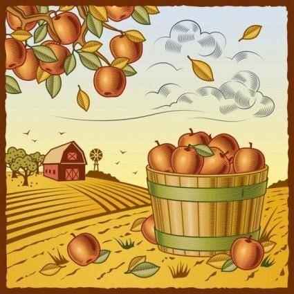 free vector Retro farm harvest 03 vector
