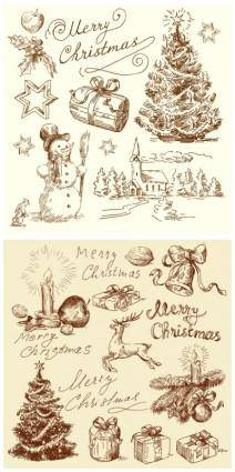 free vector Vintage christmas illustration vector