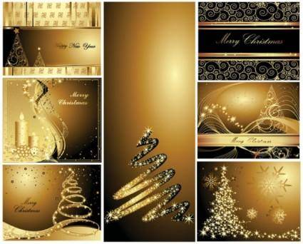 free vector Gold christmas postcards vector
