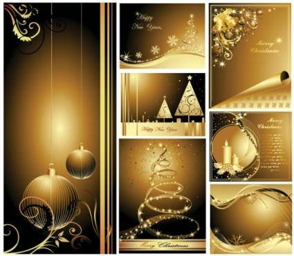 free vector Beautiful gold christmas cards vector
