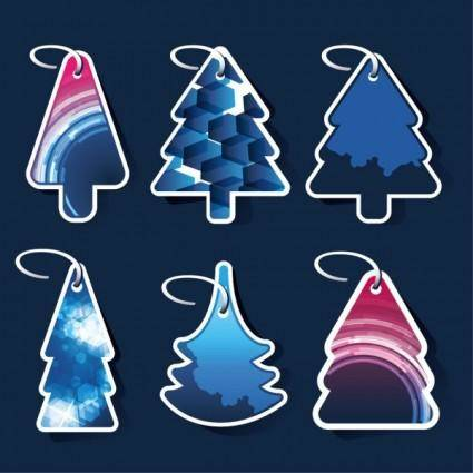 free vector Beautiful christmas tree label 01 vector