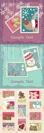 free vector Elegant christmas stamp vector